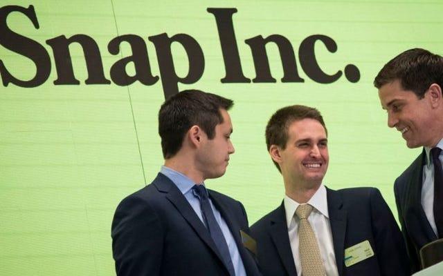 Snapchatが新しい消える株価をデビュー