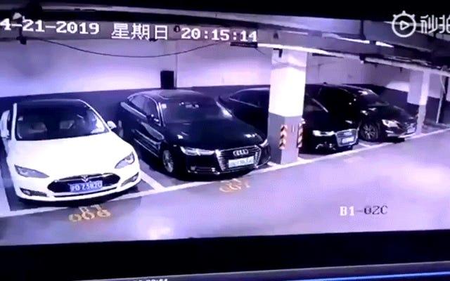 Tesla explique pourquoi cette Model S a explosé dans un parking de Shanghai