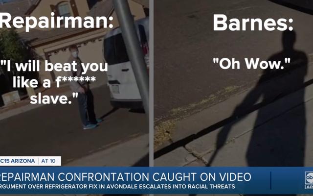 アリゾナの修理工がカメラで捕らえられ、黒人の顧客に「奴隷」のように彼を殴ったと告げる