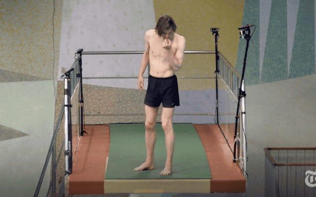 A co, jeśli zapłacisz 67 osobom za wejście na trampolinę olimpijską i pozwolisz im zdecydować, czy skoczyć, czy nie