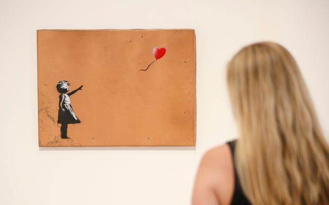"""Banksy hat eines seiner Gemälde mit einer Sprengfalle gefangen, um sich bei einer Auktion """"selbst zu zerstören"""", und das ist eigentlich ziemlich lustig"""