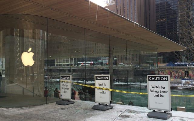 Toko Apple Baru Chicago Tidak Dibuat Untuk Musim Dingin: Es Jatuh Dari Atap, Burung Bermigrasi Menabrak Dindingnya