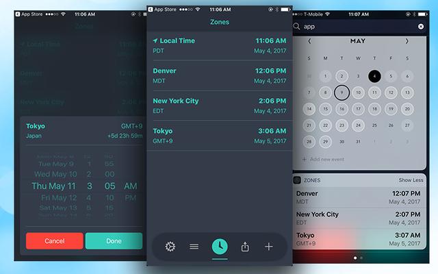 ゾーンはiPhoneで簡単なタイムゾーン変換を提供します