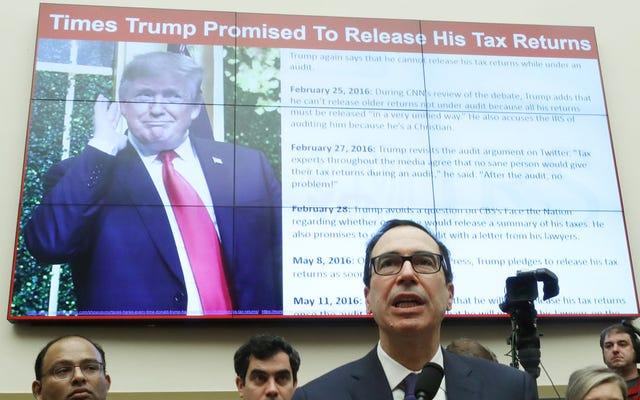 スティーブ・ムニューシンは、IRSのメモを誰が書いたかを知りたがっています。彼はまだ行かないので、トランプの税金を解放しなければならないと言っています。