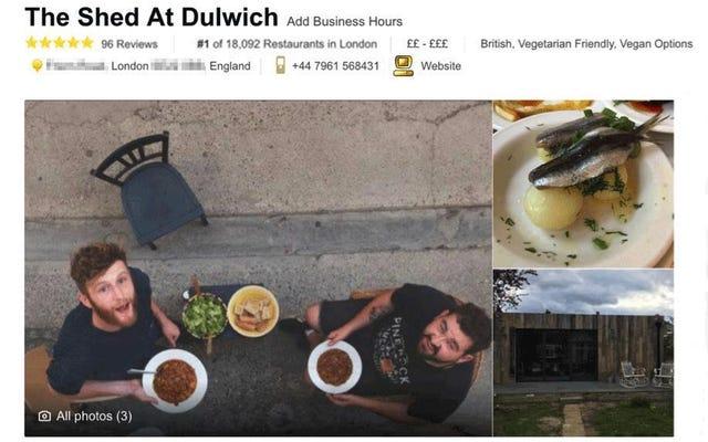 Ubah gudang Anda yang penuh dengan ayam menjadi restoran terbaik di London dengan ulasan palsu TripAdvisor