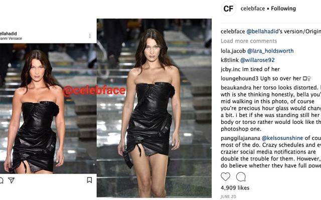 InstagramのCelebfaceのニップ、タック、フォトショップの啓示