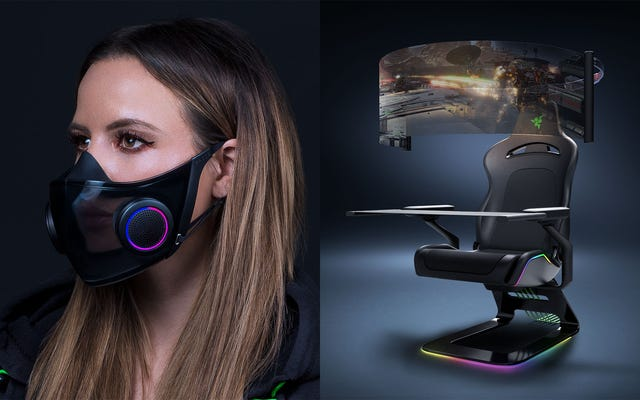 La sedia da gioco selvaggia di Razer e la maschera intelligente sono gadget concepiti per combattere i guai del 2021