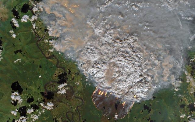 Imágenes de satélite muestran vastas franjas del Ártico en llamas