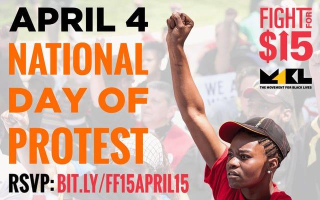 15ドルで戦う、人種差別と戦うための全国的な抗議を計画する黒人の生活のための運動、賃金を上げる