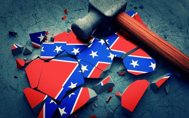 「白い嘘の問題」グループは南軍の記念碑を盗み、身代金の要求が満たされない場合、それをトイレに変えると脅迫する