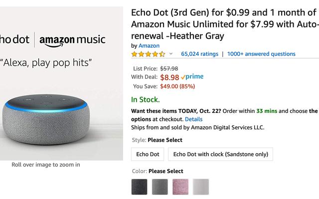Ottieni un Echo Dot per $ 9, più un mese di streaming musicale.