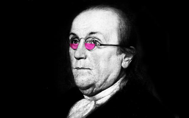 オリジナルの小さなメガネ着用者、ベンジャミン・フランクリンへの敬礼