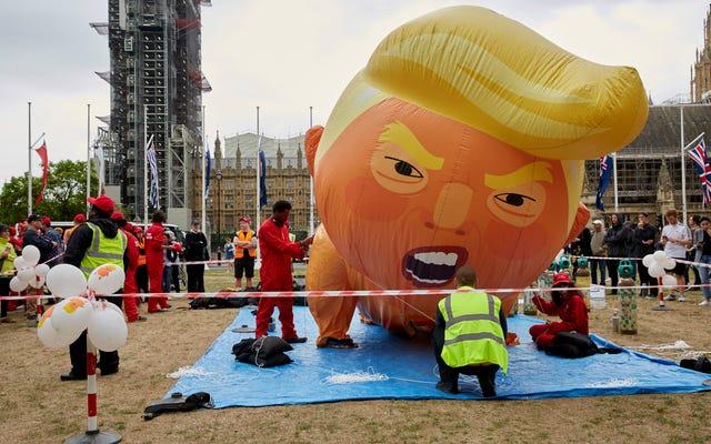 RIP Baby Trump Blimp: Người phụ nữ Stabs Baby Trump Balloon và bị bắt kịp thời