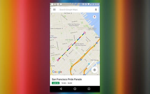 Карты Google добавляют маршруты парада прайдов к данным о трафике в эти выходные