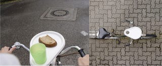 Illustration for article titled Breakfast Bike Tray Spells Death Wish