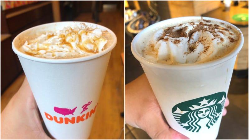 Illustration for article titled Starbucks vs. Dunkin: Pumpkin Spice Latte edition