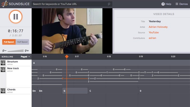 Illustration for article titled Soundslice Syncs Guitar Tabs with Video to Help You Learn to Play by Example