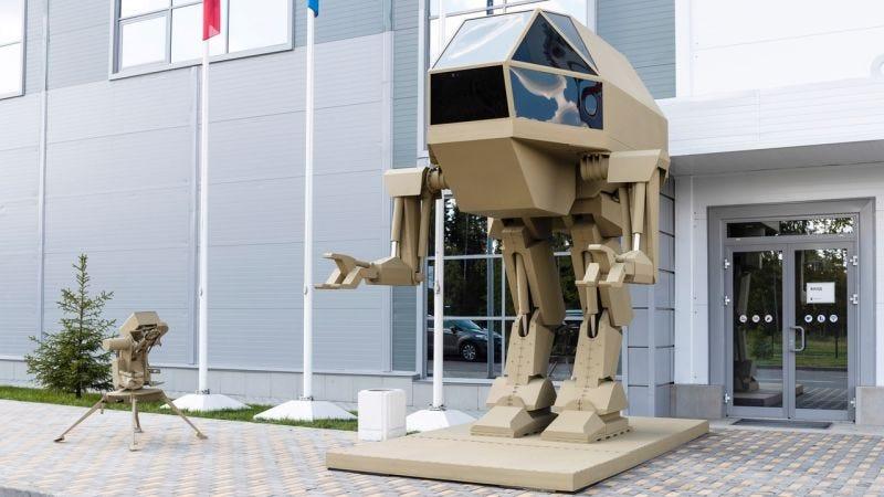 """Illustration for article titled Un fabricante de armas ruso revela su nuevo """"robot mecha"""" de combate, pero parece que no puede moverse"""