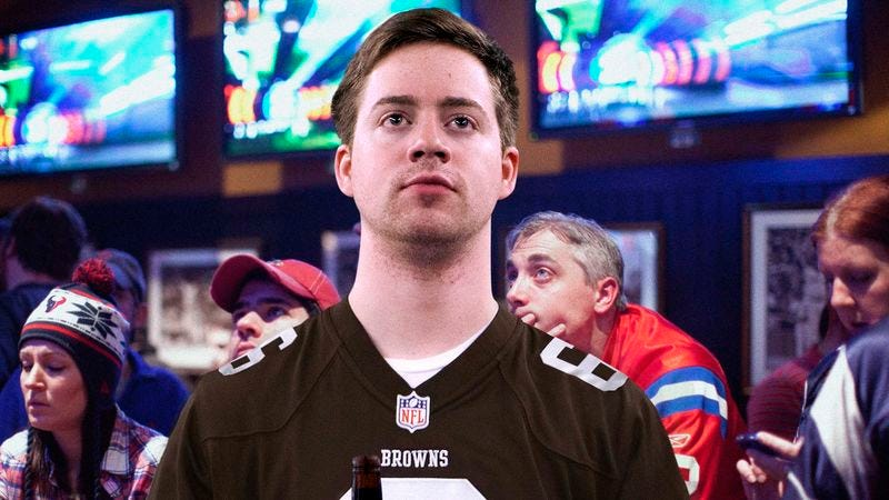 Illustration for article titled It Becoming More And More Clear That Browns Fan Came To Sports Bar Alone