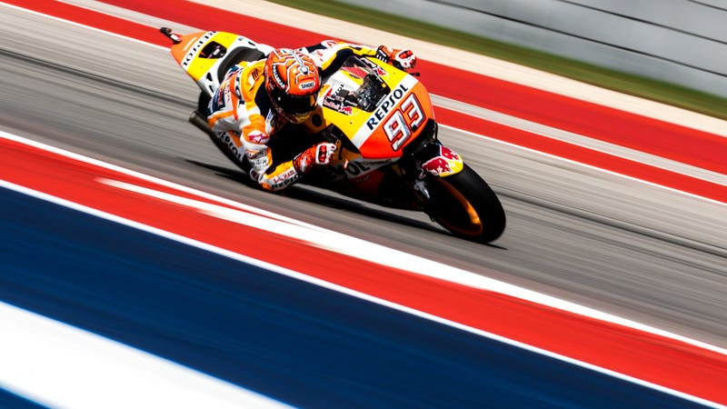 Repsol Honda Team rider Marc Marquez at Circuit of The Americas on Friday. Photo credit: Kurt Bradley
