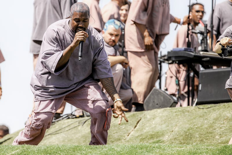 """Kanye West giving his """"Sunday Service"""" performance at Coachella on Easter April 21, 2019"""