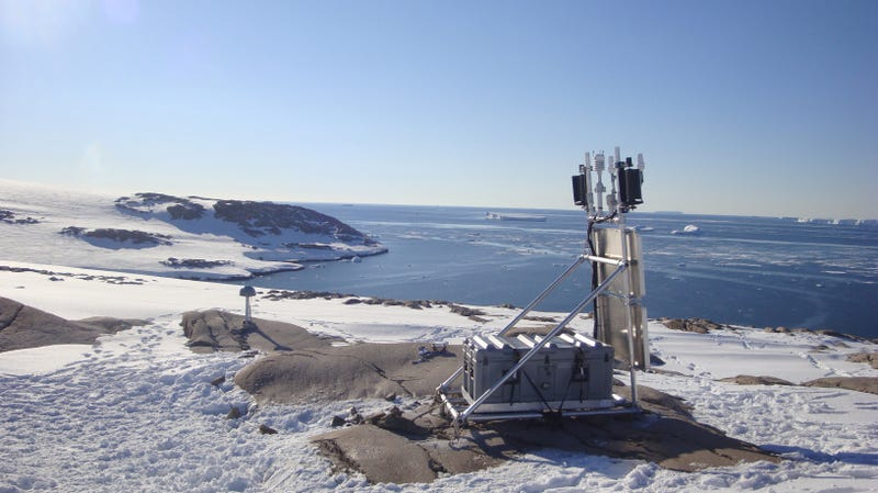 A GPS station along the coastline of West Antarctica.