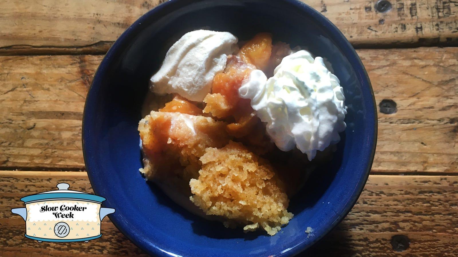Make bourbon peach cobbler in a Crock Pot because peaches + booze + slow cooker = dessert