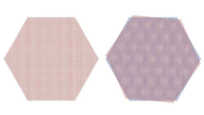 Moire patterns in stacked graphene sheets.