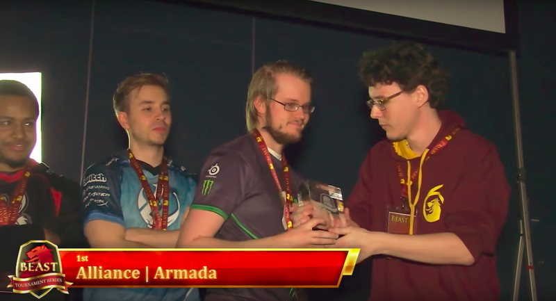 "Adam ""Armada"" Lindgren accepting his first-place trophy at BEAST 7 (image via YouTube)"