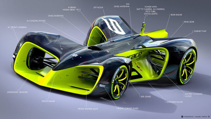 Illustration for article titled Roborace's Updated Self-Driving Race Car Design Is Just The Coolest Shit