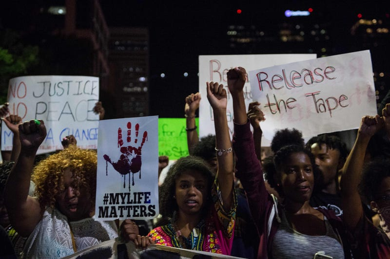 Protesters march in Charlotte, N.C., on Sept. 23, 2016, following the shooting of Keith Lamont Scott by police three days earlier and subsequent unrest in the city.NICHOLAS KAMM/AFP/Getty Images