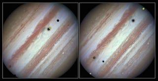 Illustration for article titled Hubble capta un raro evento: 3 lunas de Júpiter en tránsito simultáneo