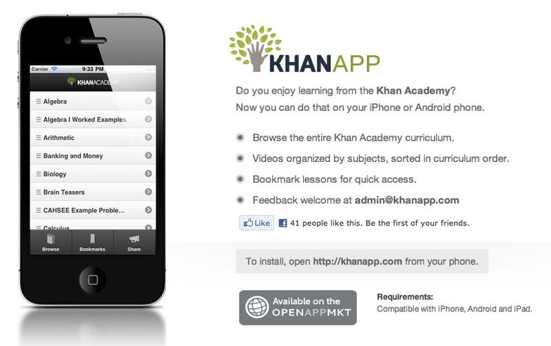 Illustration for article titled KhanApp Offers Free Education To Go