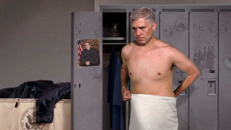 Gorsuch Nervous About Showering In Front Of Other Supreme Court Justices-9907