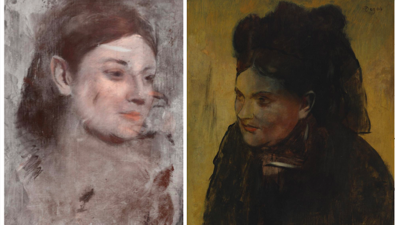 Left: The newly uncovered portrait. Right: Degas' 1876 Portrait of a Woman, as displayed in the National Gallery of Victoria