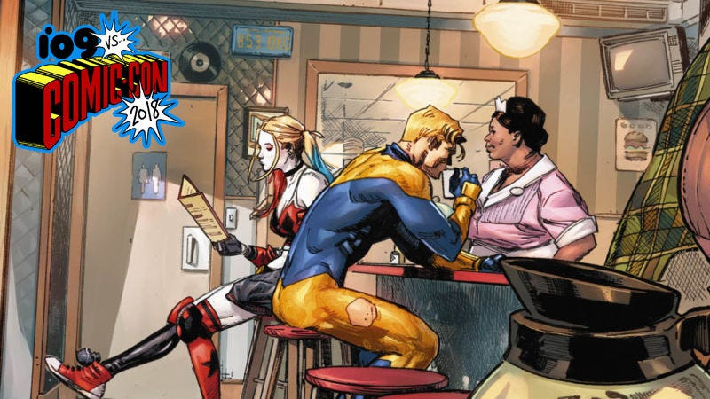 Harley Quinn and Booster Gold in Heroes in Crisis.