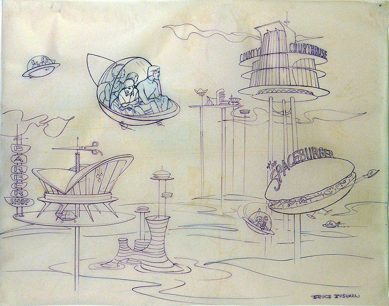 Illustration for article titled The Jetsons Amusement Park Ride That Never Was