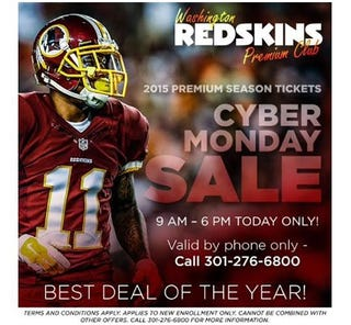 Illustration for article titled The Washington Redskins Don't Understand How Cyber Monday Works
