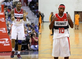 Illustration for article titled Of All The Great NBA Uniforms To Steal, Kuwaiti Pro Team Chooses The Wizards