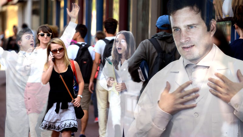 Illustration for article titled 'Can Anyone Hear Me?' Shout Terrified Climate Scientists Frantically Waving Arms As Passersby Walk Straight Through Them