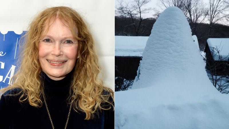 Illustration for article titled Mia Farrow Has a Very Nice Snow-Covered Phallus in Her Backyard