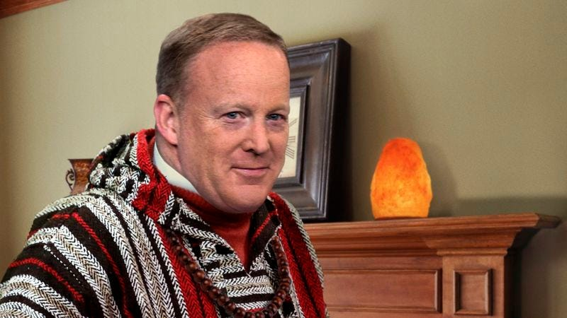 Illustration for article titled Blissed-Out, Hemp-Wearing Sean Spicer Assures Reince Priebus This The Best Thing That Ever Happened To Him