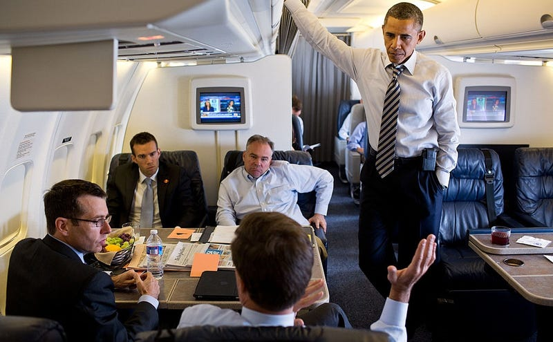 Clockwise from left: David Plouffe; Jon Favreau; Tim Kaine; Barack Obama. Photo: Getty (July 2012)
