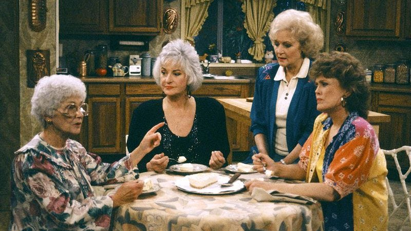 Estelle Getty, Bea Arthur, Betty White, and Rue McClanahan in The Golden Girls (Photo: Joseph Del Valle/NBCU Photo Bank/Getty Images)