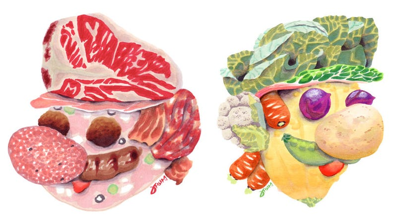 Illustration for article titled A Mario Made of Meat, A Luigi Made of Vegetables, Both Suitable for Framing
