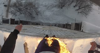 Crazy Russian Jumps 98 Feet Off Building. While On Fire.