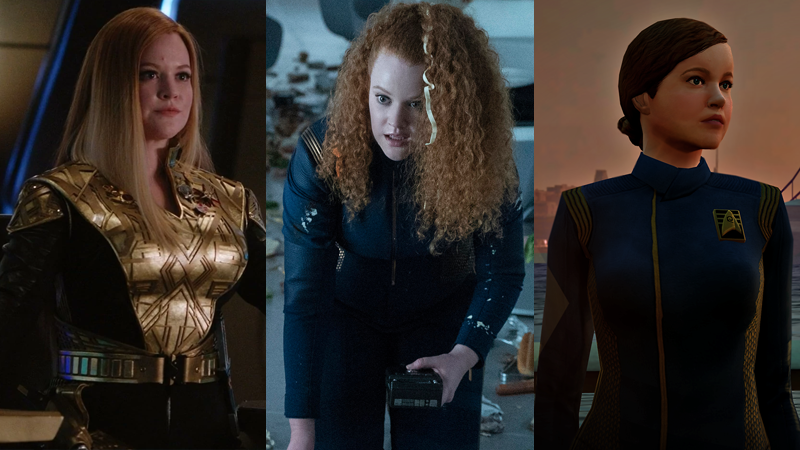 Tilly, three ways: masquerading in the Mirror Universe in Discovery's first season; cleaning up some mess hall mania in Short Treks; and as a young Starfleet Academy student in Star Trek Online.
