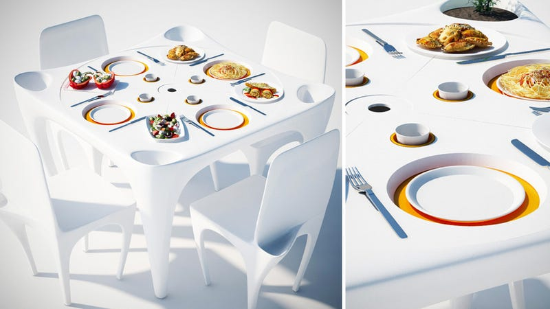 Illustration for article titled This Outdoor Table's Recessed Grooves Stop the Wind From Blowing Away Your Meal