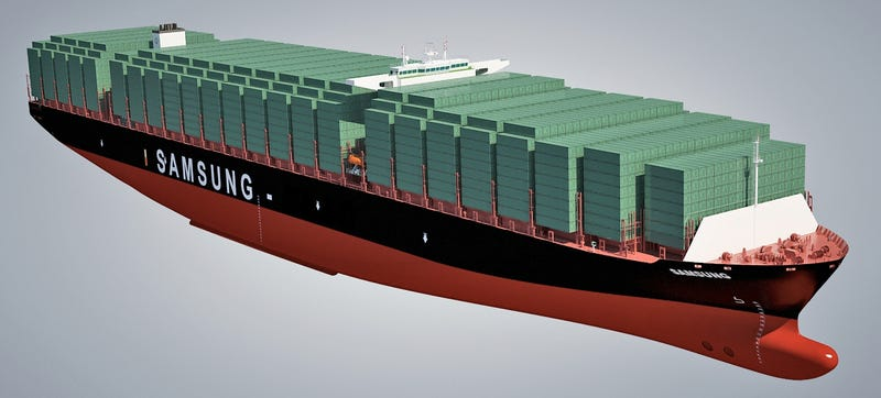 Illustration for article titled World's Largest Container Ship Has Four Football Fields of Deck Space