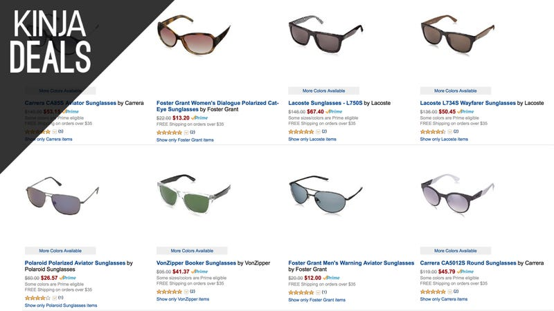 Illustration for article titled Amazon's Deeply Discounting a Ton of Sunglasses, Today Only